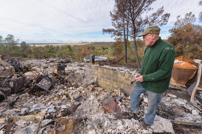 Ed Mannion returned to his Butte County property to find his home destroyed by fire.