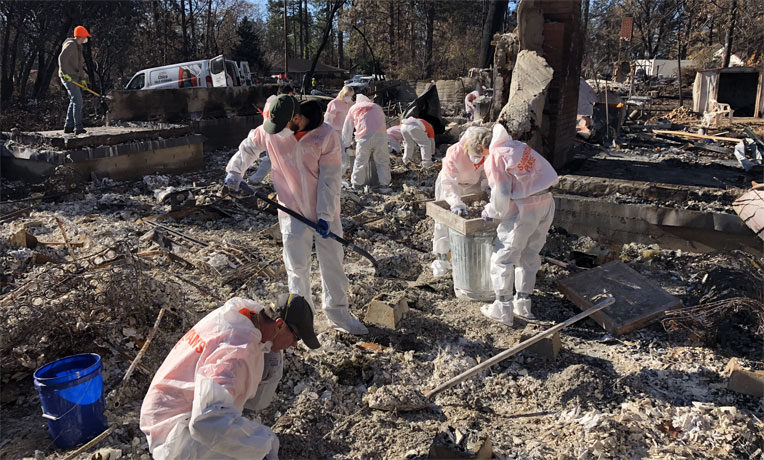 Samaritan's Purse volunteers are working hard throughout Butte County, California, to help homeowners sift through ashes and try to recover valuable possessions not destroyed by the fire.