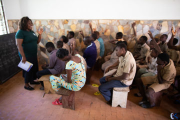 Cynthia Hamelo, a national leader with Operation Christmas Child in Togo, teaches students in The Greatest Journey class.