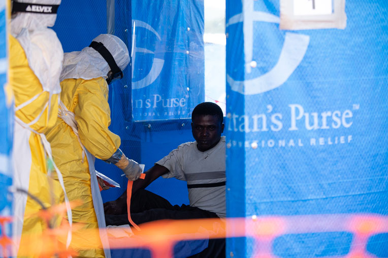 Our medical teams drawing blood in order to test for Ebola.