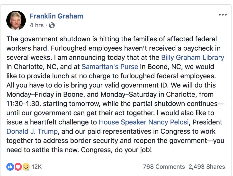 Franklin Graham Free Lunch Program