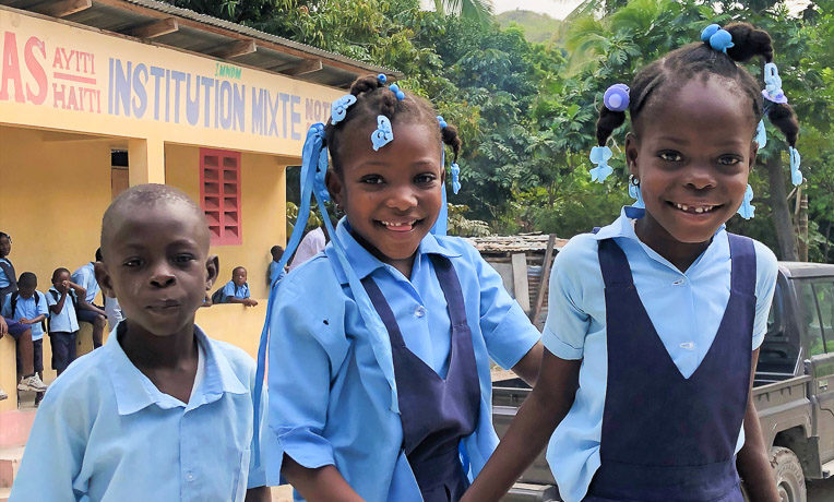 Mount Carmel primary school in Grand-Goâve, Haïti, is filled with the laughter and smiles of children who are learning more about the love and care of God through our WASH project.