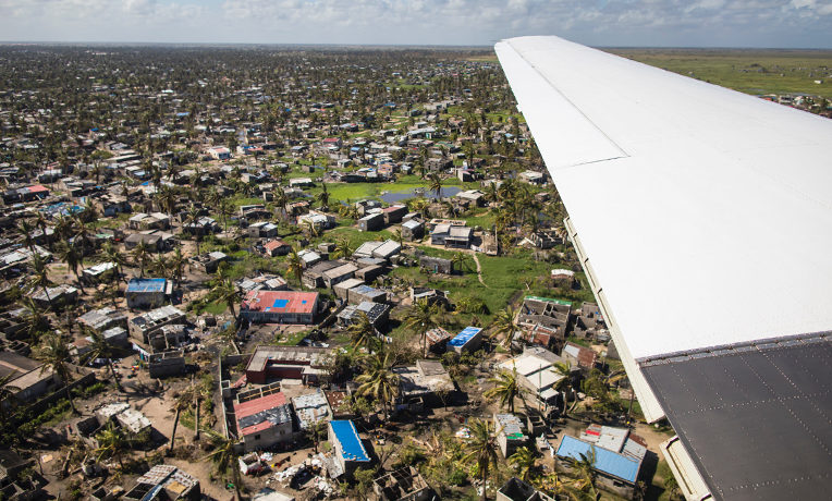 As our teams prepared to land in effected areas of Mozambique, destruction was apparent from the air.