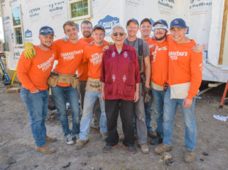 """Pastor Marcos stands with the volunteer team from College of the Ozarks, When asked about the students and everything that's happening to his home Pastor Marcos said, """"Thank you for doing what you are doing. I sure do appreciate it.  God bless you for that."""""""