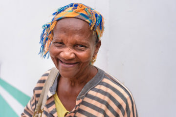 Magdalena, 74, was grateful for the food she received at a recent distribution.