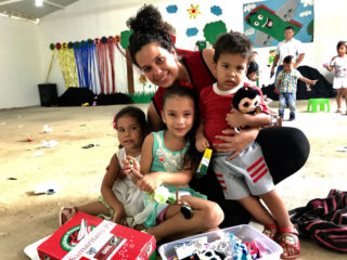 Chanel is thankful that her children each received an Operation Christmas Child shoebox gift.
