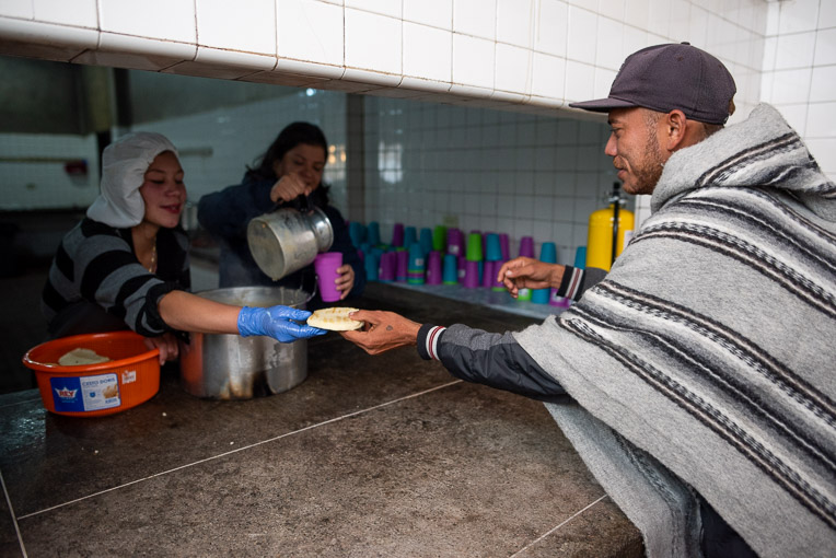 Alcides received breakfast after spending the night at our shelter in Berlin.