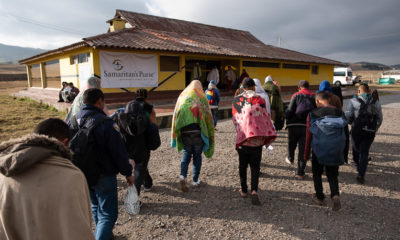 Venezuelan migrants are relieved to arrive at the Samaritan's Purse shelter in Berlin, Colombia.