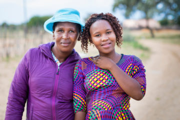 Agnes Khumo, right, and her mother, Gomotsegang Khumo, both experienced salvation and a restored relationship with each other after Agnes received an Operation Christmas Child shoebox.