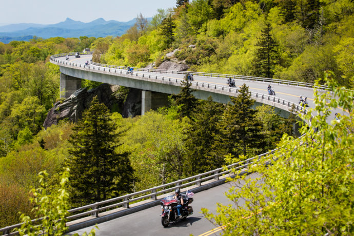 Motorcyclists snake along the Blue Ridge Parkway during the eighth annual High Country Warrior Ride.