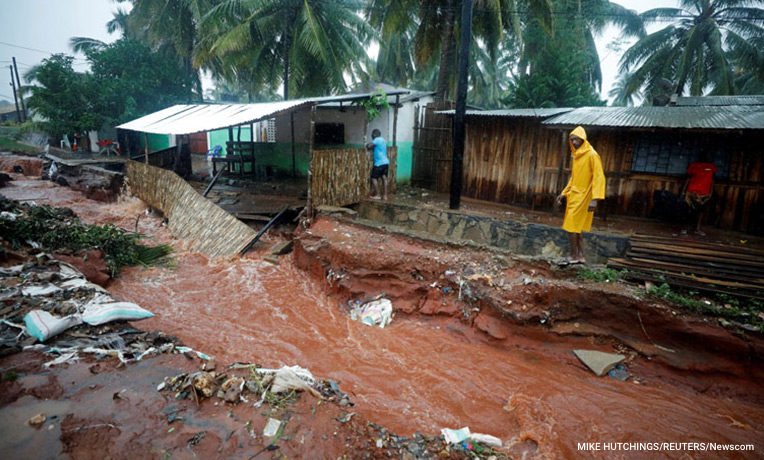 Many homes are flooded after Cyclone Kenneth hit Pemba, Mozambique.