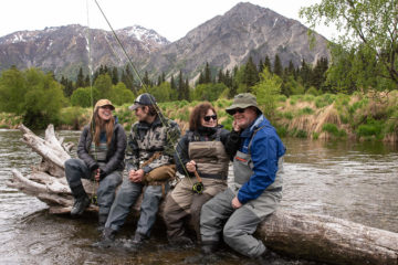 Jenna and Caleb Jones (left) and Beth and Ronnie Busbin (right) enjoy fishing in Kijik River.