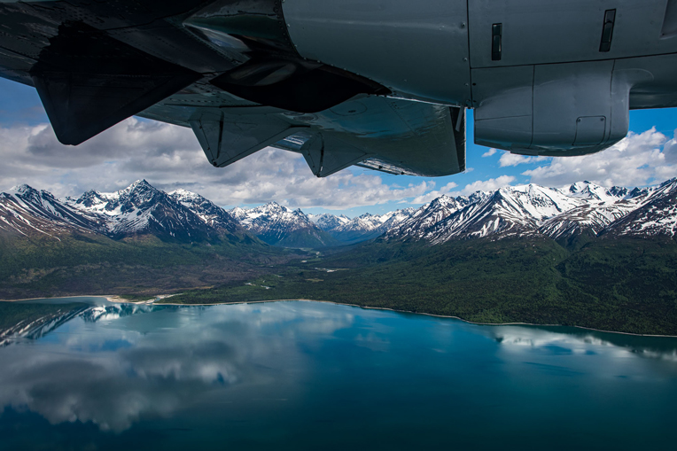 The view from our CASA aircraft as it flies through Lake Clark Pass provides couples with once-in-a-lifetime breathtaking views of God's creation in Alaska.
