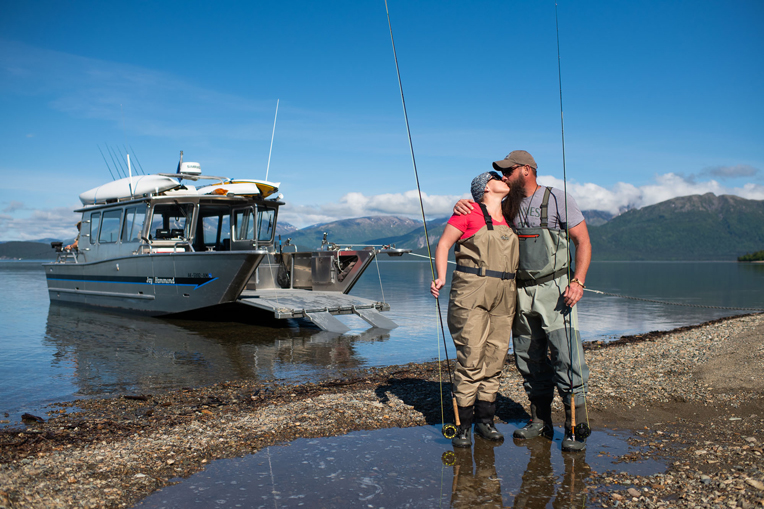Steve and Candice Ahearn, both Army veterans, enjoy an afternoon fishing aboard the Jay Hammond. Steve served for nearly 17 years, including deployments to Afghanistan, before being medically retired in 2010.