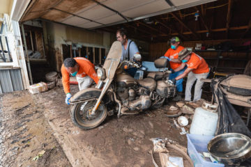 Robert Atchley's motorcycle was one of many possessions covered in floodwater at his home.