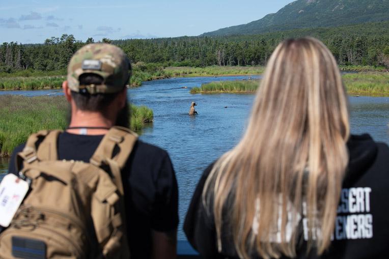 Couples enjoyed watching Alaskan brown bears in Katmai National Park.