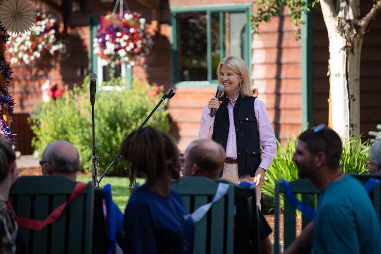 Greta Van Susteren spoke to Operation Heal Our Patriots couples during July 4 week.