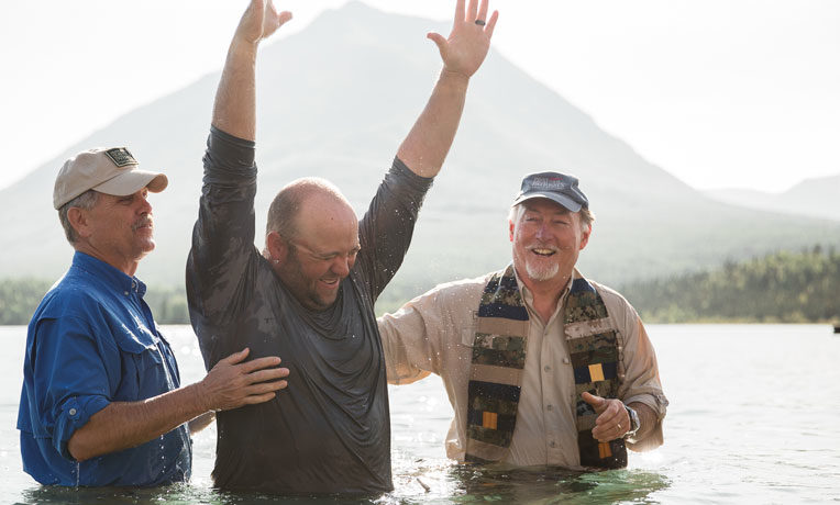 Army Specialist Matt Brady was one of three individuals baptized during week six at Samaritan Lodge Alaska.