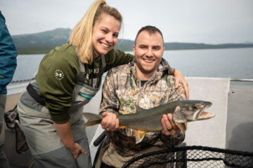 Derrick and Cara enjoy an afternoon together catching fish on Lake Clark in our boat the Jay Hammond.