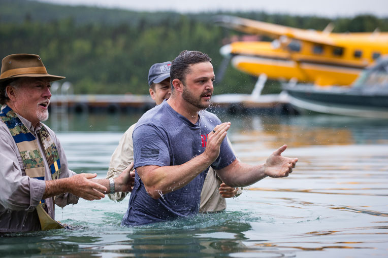 Army Sergeant Joe Gray recommitted his life to Christ and was baptized in Lake Clark.