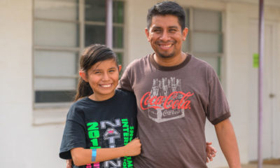 A father and daughter who recently arrived in Laredo were able to clean up, rest, and enjoy a hot meal with our teams at Good Samaritan Migrant, one of our partners at the border.
