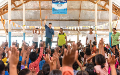 Edward Graham had an opportunity to speak to a group of children during the outreach events.