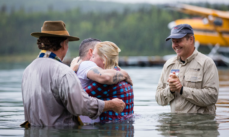 Tony and Amy Payne were both baptized in Lake Clark.