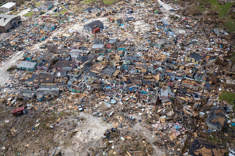 An aerial view of the widespread devastation on Abaco.