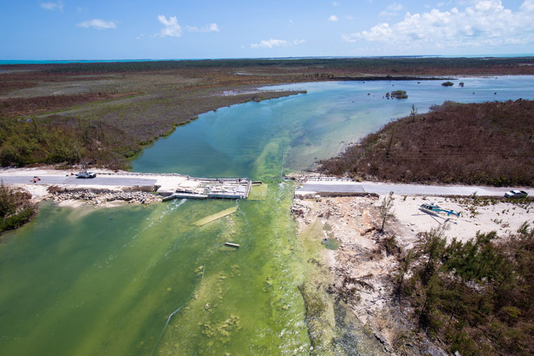 The bridge to Cedar Harbour was washed away by Hurricane Dorian.