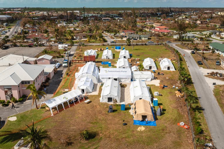 An aerial view of our Emergency Field Hospital in the Bahamas.
