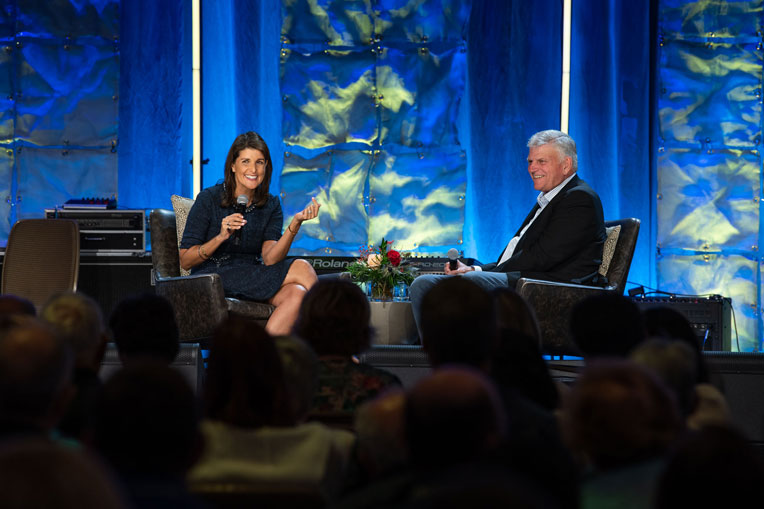 Franklin Graham interviews former U.S. Ambassador Nikki Haley during the Prescription for Renewal conference.