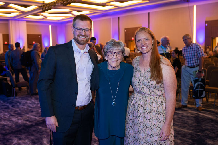 Dr. Kent Brantly and his wife Amber meet with long-time missionary, nurse, and friend of Samaritan's Purse Aileen Coleman.