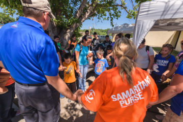 Samaritan's Purse staff and volunteers, along with Billy Graham Rapid Response Team chaplains, were at the shelter in Del Rio caring for physical needs and providing spiritual support.
