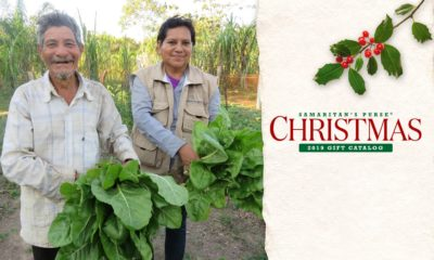 Ana, a Samaritan's Purse agriculture technician in Bolivia, helps Nolberto Sr. to harvest chard from the seeds, supplies, and training he received through our agriculture projects.