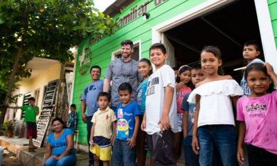 Edward Graham visited with Jesús, his family, and children at the feeding center where he serves in Mazatlan. The feeding center is one of 12 that got started with the help of Operation Christmas Child.