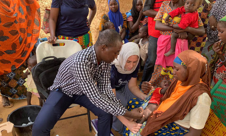 Medical teams provide measles vaccinations for people in remote areas of Niger.