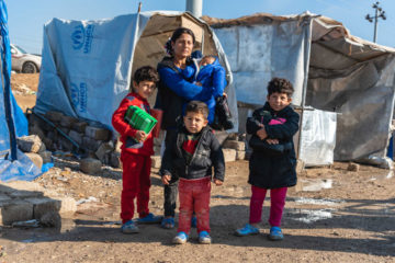 Ariya and her children received warm clothing and shoes as winter approaches.