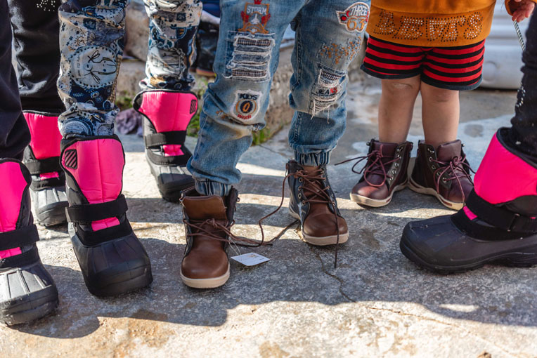 Children are grateful for the durable boots they received this week from Samaritan's Purse.