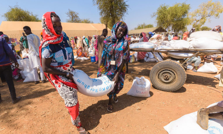Refugee families in Maban County depend on monthly food distributions.