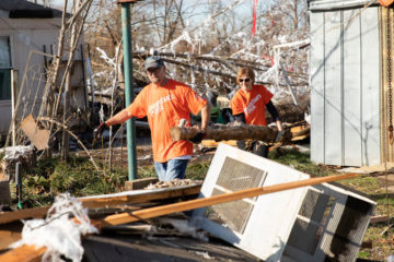 Our team removes debris from Sue's home.