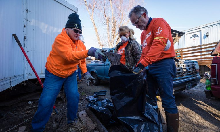 Volunteers are busy working in Pendleton, Oregon, where heavy rains and snow melt have caused severe flooding.