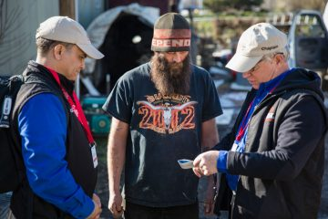 Billy Graham Rapid Response Team chaplains shared the Gospel with the homeowner's brother, Steven Linger, and he accepted Christ as his Savior.