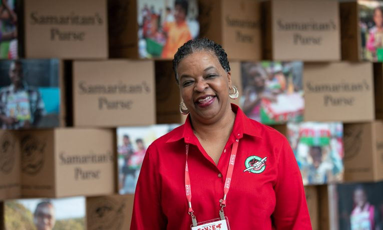 Mary Johnson works to get churches involved in Operation Christmas Child in the greater Petersburg, Virginia, area.