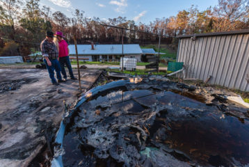 A water tank melted and released gallons of water that put out the flames near Shan and Rob's home.