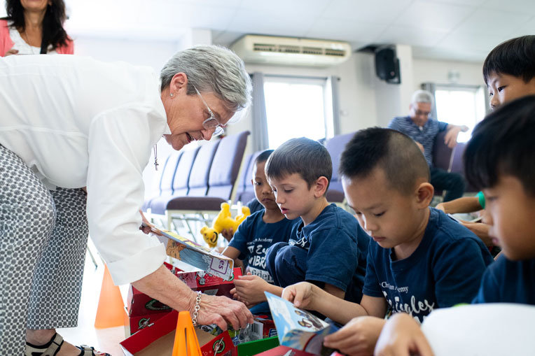 Franklin Graham's wife Jane shared in the joy that children experienced when they open their shoebox.