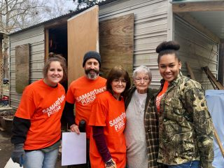 Samaritan's Purse volunteers helped 85-year-old Doris Grayson clean out her flooded home, one of many near Jackson.