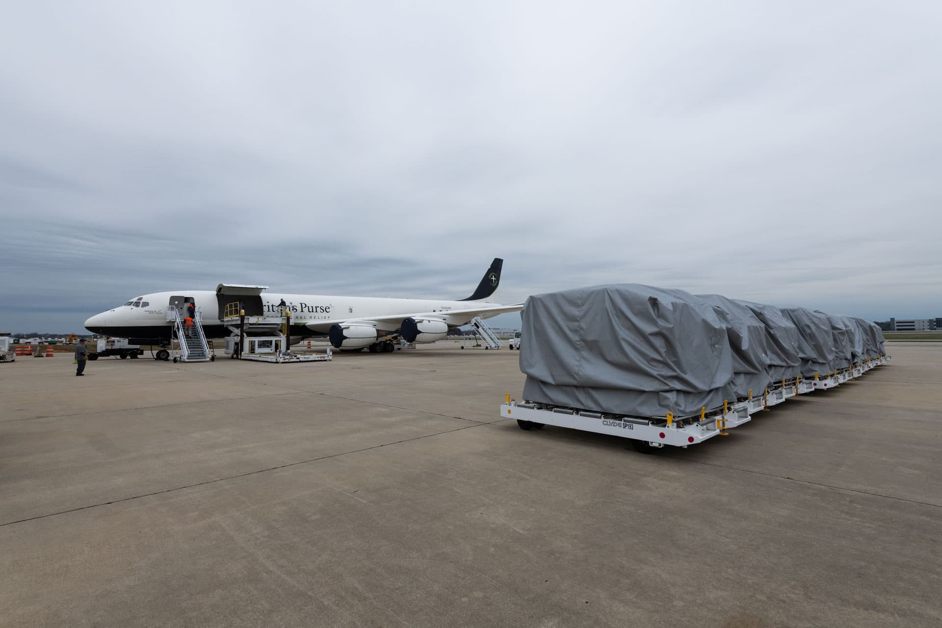Medical supplies aboard the Samaritan's Purse DC-8 were airlifted to the coronavirus epicenter in northern Italy.