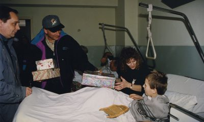 Samaritan's Purse President Franklin Graham and ministry friend Mary Damron deliver shoeboxes in Bosnia.