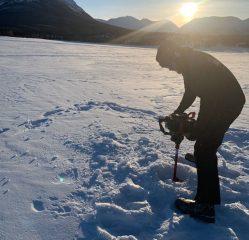 Staff at Samaritan Lodge Alaska drilled beneath the thick ice of Lake Clark.