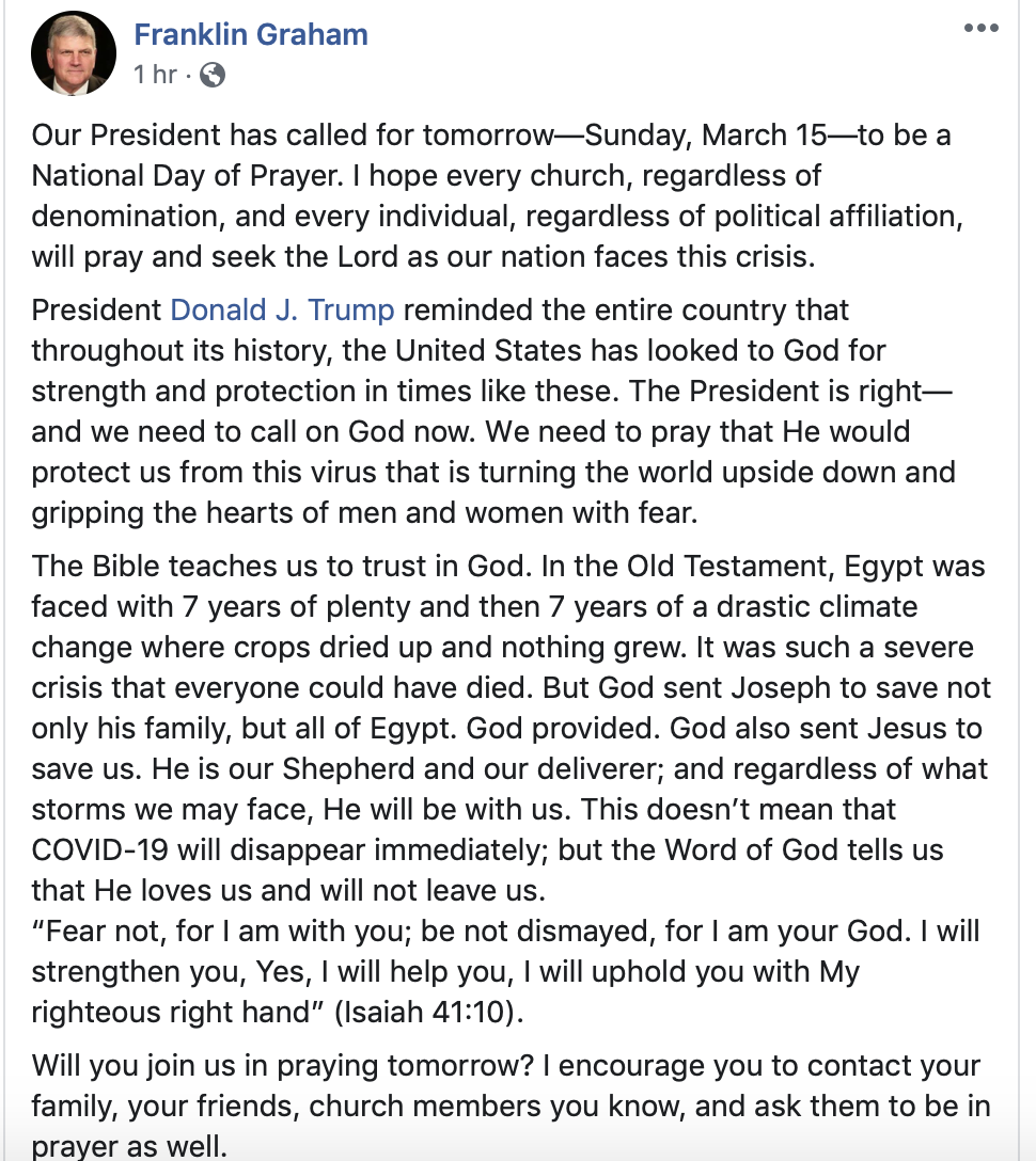 Franklin Graham Facebook post from Sat. March 14